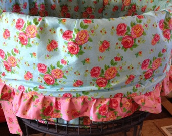 vintage style ruffled liner for the wire laundry baskets (Fits collapsible too)/ basket liners