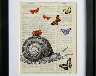 Snail with Butterflies printed on a page from an antique dictionary by Le Papier Gallery