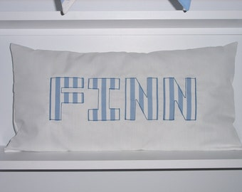 Personalised Cushion Blue & White Stripes
