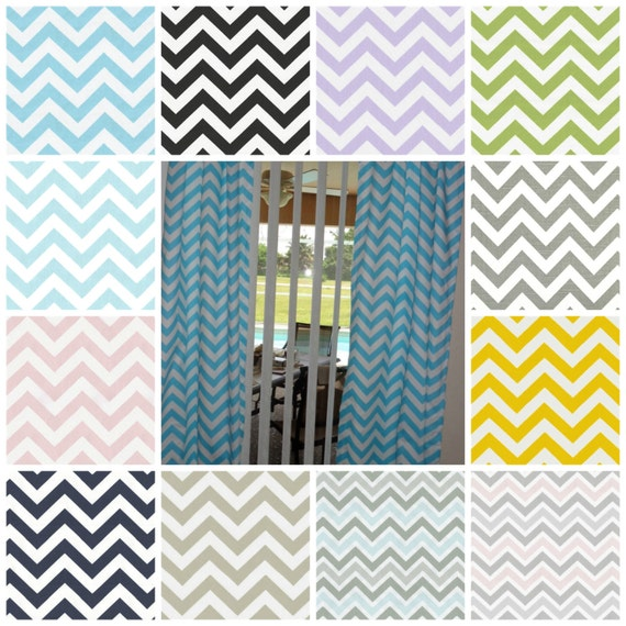 Chevron  Curtains    -Choose Your Length and Color  -         Two Un Lined Panels Each 25 Wide