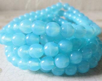 Turquoise Aqua Blue Opal 6mm Round Czech Pressed Glass Druk Beads, 30 Piece