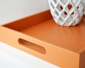 Pumpkin Orange 14 x 18 Serving Tray - Orange Coffee Table Tray - Wooden Ottoman Tray -  Autumn Home Decor