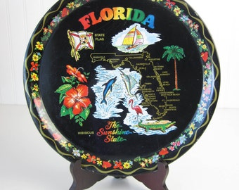 Florida Souvenir Tray-Vintage Metal Serving Tray