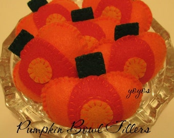 PUMPKIN BOWL FILLERS Set of Five Small Felt Pumpkin Bowl Fillers Fall Autumn Home Cabin Cottage Rv Dorm Holiday Décor Gift