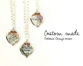 Custom Map Necklace - Tiny Vintage Silver Heart Locket - Sterling Silver Chain, Personalized, Gift for Her, Gift under 50