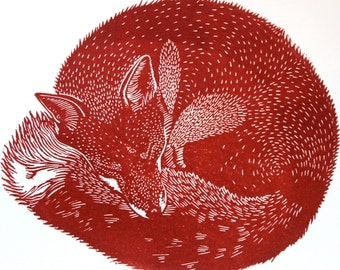 Hand pulled limited edition  linocut print of Sleeping Fox