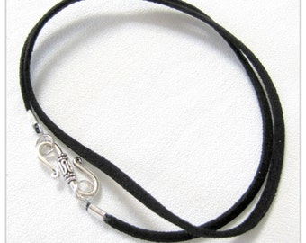 14 to 24 inch Black Necklace Cord, Black Pendant Cord, Jewelry accessories, Black Suede Necklace Cord,  Fancy Designer Pewter S Hook Clasp