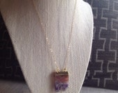 Double Amethyst Raw Slice  Druzy Necklace
