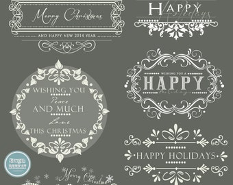 INSTANT DOWNLOAD - Holidays. Christmas Overlays, Words Overlays vol.1
