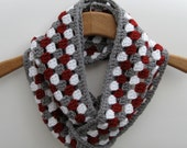 Crochet Infinity Cowl Scarf in Granny Stitch Red / White / Gray