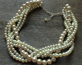 Champagne Ivory Pearl Statement Necklace Braided Cluster on Silver or Gold Chain