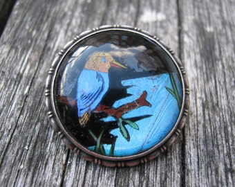 Kingfisher Butterfly Wing Sterling Silver Brooch