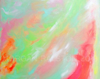 """ORIGINAL acrylic painting on stretched canvas - Wind On Shores - 11x14"""" Expressive Abstract Color Art"""