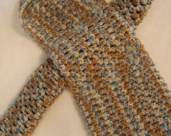 Crochet Neck Scarf, Tans and Blues Ombre Yarn