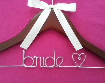 SALE SALE SALE Personalized Bridal Wedding Hanger / Bridal Hanger / Wedding Hanger  / Custom Hanger  comes with bow and jewel.