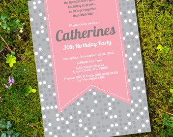 Pink and Gray Birthday Invitation - 16th 20th 25th 30th 40th 50th 60th birthday invitation - Instant Download & Edit File - Print at Home!
