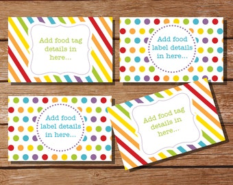 Candy / Rainbow Party Tent Cards, Food Labels, Buffet Cards, Food Tags, Labels - Instantly Downloadable File