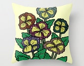 Yellow Flowers Pillow / Double Sided Throw Pillow / Faux Down Insert / Colorful Pillow Cover / Flowers Throw Pillow / Flowers Pillow Cover