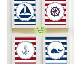 Nautical Nursery Art - Sail Boat Nursery Decor - Nautical Nursery Prints for Baby Boy Room Decor set -  8 x10