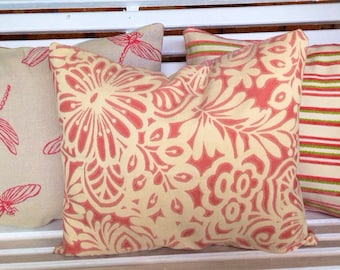 Lot of Three Contrasting Decorative Throw Pillows, Pink Floral Dragonfly