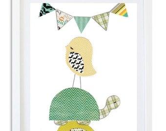 Nursery decor, Boys room print, Kids room wall art, Turtle, Bird - Look the other way