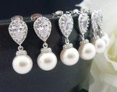 15% OFF SET of 11 Bridal Jewelry Bridesmaid Pearl Earrings Wedding Jewelry Swarovski Pearl Drop Earrings & Cubic Zirconia White OR Cream