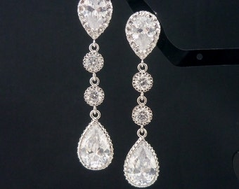 Bridesmaid Gift Wedding Jewelry Bridal Earrings Bridesmaid Jewelry Clear White Cubic Zirconia (M) Tear Drop Earrings CZ Long Dangle Earrings