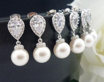 10% OFF SET of 5 Bridesmaid Gift Wedding Jewelry Bridal Earrings Ivory White OR Cream Swarovski Pearl Drop Earrings Cubic Zirconia Earrings