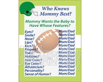 Football Baby Shower Game, Sports Theme Baby Shower Game, Football Theme Baby Shower, Who Knows Mommy Best, Instant Download Baby Shower
