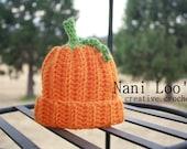 PUMPKIN Hat.  Crochet hat. Newborn 0-3 month.  Photo Prop  Halloween hat.