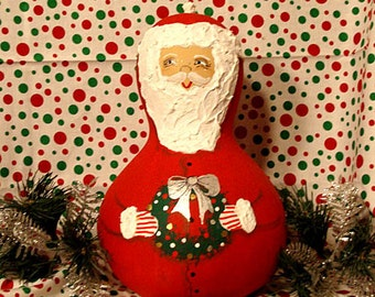 Santa Bottle Gourd, Christmas, Red with Wreath, Large, Handpainted (S1123)