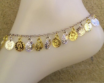 coin anklet, Gold and Silver coin ankle bracelet, two tone anklet, gold and silver coin bracelet, gold and silver coin anklet, custom anklet