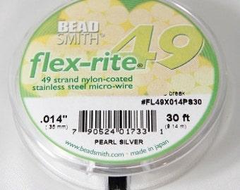 "The BeadSmith 0.014"" Pearl Silver Flex-rite Nylon Coated 49 Strand Flexible Beading Stringing Wire 30 Feet"