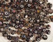 Variety of 15 Heavily Embellished Black Beads