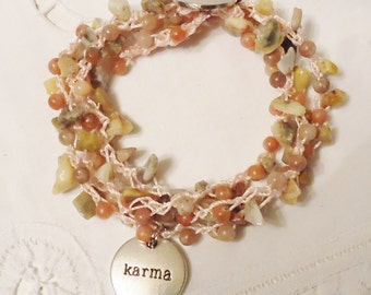 Tan, Rose & Pale Pink Hand Crocheted Bracelet or Necklace with Karma Charm