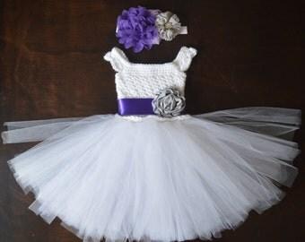 Crochet Tulle Tutu Flower Girl Dress Baby Costume Handmade Photo Prop Baptism Christening