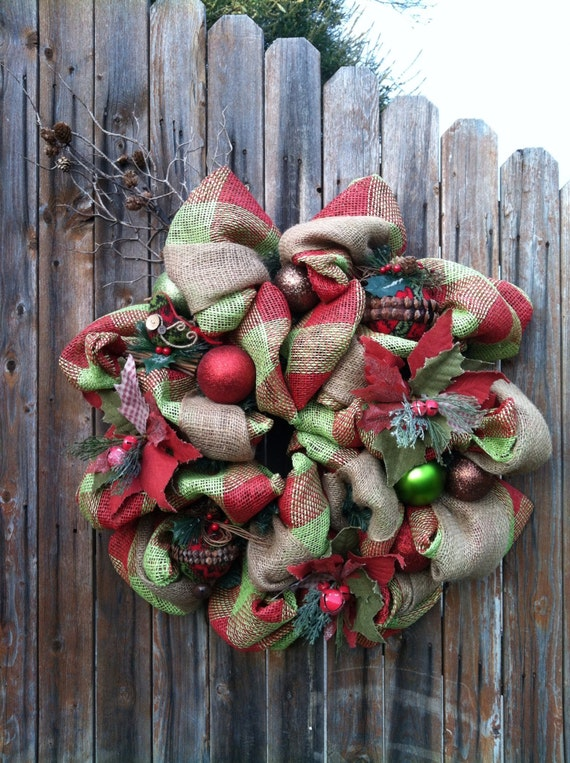 On Saledeco Mesh Christmas Burlap Wreath With By