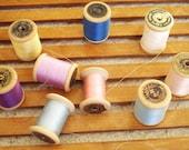 Vintage Wood Spools of Thread - Made in Portugal - 9 Spools