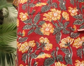 Floral Block Print Indian Cotton Maroon Fabric By Yard