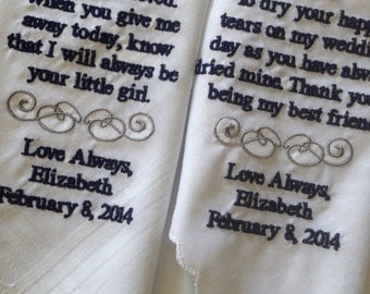 Set of Two Personalized WEDDING HANKIE'S Mother & Father of the Bride Gifts Hankerchief - Hankies