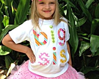 big sis Appliqued Shirt / Girls/ Short Sleeved/ Shirt Size 4/READY TO SHIP