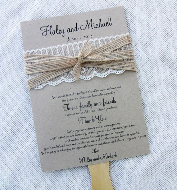 Wedding Fan: Items Similar To Rustic Country Shabby Chic Lace And