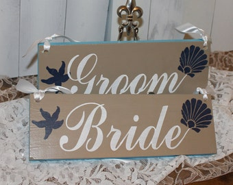 BRIDE - GROOM Chair Signs/Starfish/Shell/Photo Prop/Beach Theme/U Choose Colors/Great Shower Gift