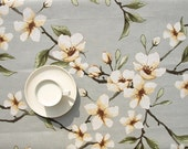 Tablecloth pale green ivory white flowers floral tablecloth , table runner , napkins , curtains , pillows available, great GIFT - Dreamzzzzz