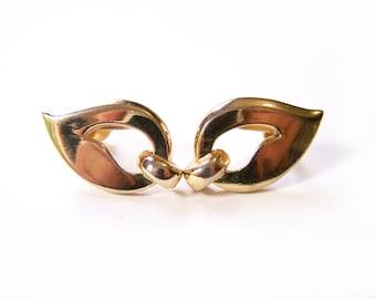 Vintage Designer Tara Gold Tone Abstract Screw On Earrings / Gift for Her / I320