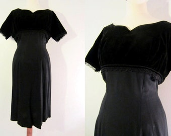 50s Black Pin-up Dress w/ Velvet Bolero by Donovan of Dallas, S-M // Vintage Cocktail Sheath Dress // Little Black Dress