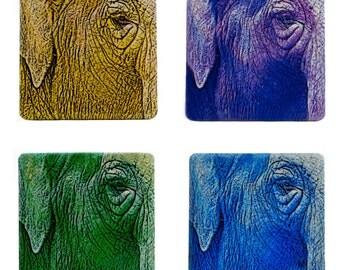 "Elephant Eye Graphic Abstract Art 4"" Art Tile Coaster Set Yellow Purple Blue Green"