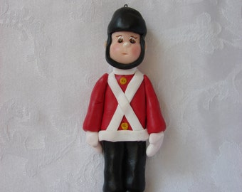 Toy Soldier Polymer Clay Childrens Christmas Ornament, Figurine.  A Handcrafted Art Sculpture.