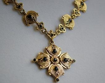 Gold Onyx Statement Necklace, Vintage Goldtone Runway Statement Necklace with Jet Black Rhinestones