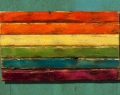 distressed wooden rainbow Pride flag.  Pride, gay, weathered, homosexual, gay rights, equal rights, wood flag, lesbian, home decor